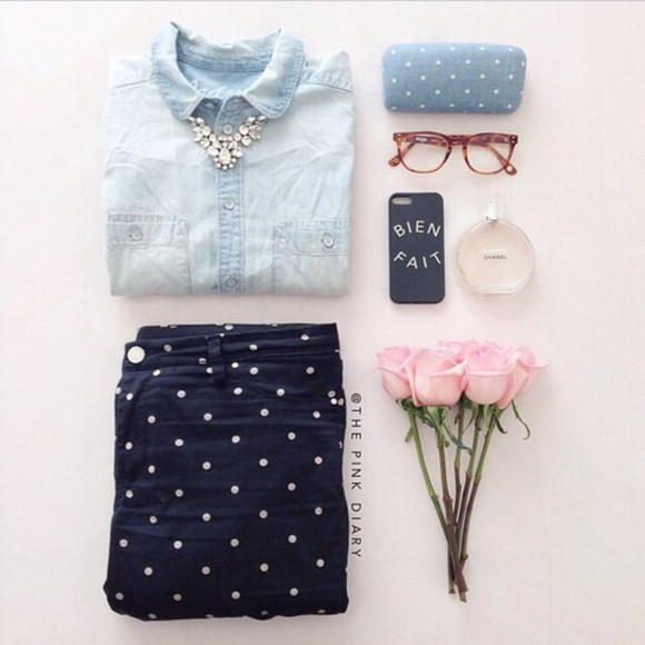 polka dots blue shirt jeans cute navy