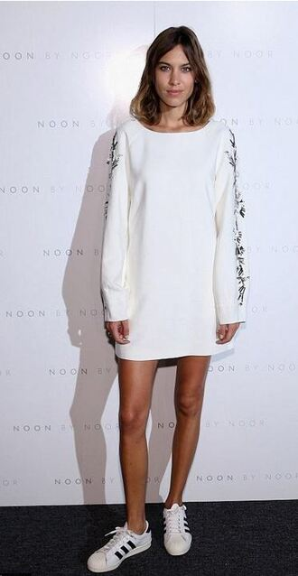 dress sweatshirt oversized sweater alexa chung sneakers fashion week tunic dress shoes