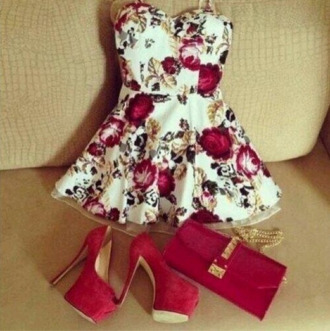dress red dress datenight date dress 166503 floral flowers beautiful elegant elegant dress cute dress cute white dress short dress spring outfits spring dress gold dress pretty floral dress bag shoes