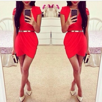 dress red dress goldbelt red red dress body con golden belt short sleeve dress