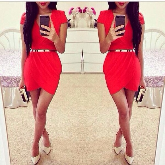 dress golden belt red dress body con short sleeve dress red dress goldbelt red