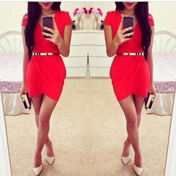 dress red dress gold belt red red dress body con golden belt short sleeve dress silver belt slit dress gold belt wrap dress asymmetrical dress