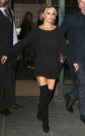 dress little black dress fringes jessica simpson knee high boots boots