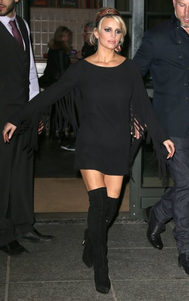 Dress: little black dress, fringes, jessica simpson, knee high ...