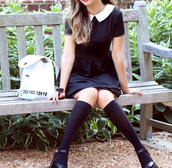 collared dress,dress,little black dress,preppy,bag,peter pan collar