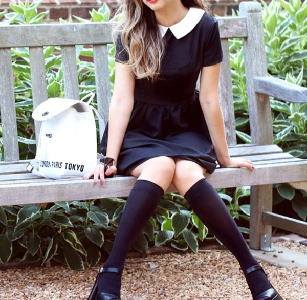 collared dress dress little black dress preppy bag peter pan collar