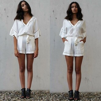 jumpsuit white jumper sweet lace v neck