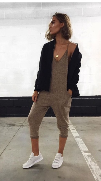 jumpsuit grey beige tan cropped comfy urban outfitters