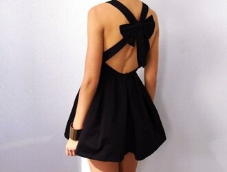 dress black strik qute lovely little black dress bow open back