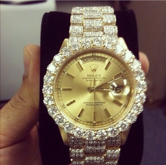 jewels watch rolex diamonds gold silver girly fashionable