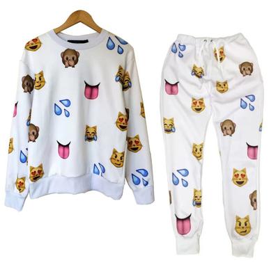 Unisex emoji sweatpants joggers and sweater white
