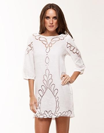 ViX Solid White Jessey Linen Dress