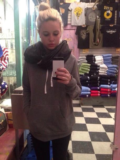 sweater Beatrice Miller grey scarf sweather weather grey tumblr outfit tumblr sweater grunge sweater