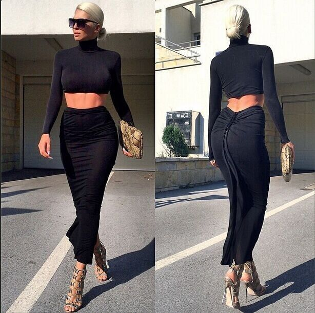 Women Black Stretch Long Mid-calf Pencil Skirt add top Bodycon Dress two pieces