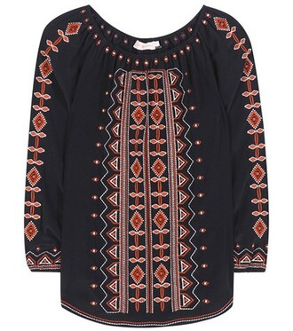 blouse tunic embroidered silk black top