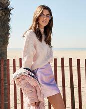 sweater,kaia gerber,mini skirt,metallic,jacket,model,dusty pink