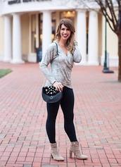 herestheskinny,blogger,top,leggings,bag,shoes,jewels,make-up,shoulder bag,metallic top,ankle boots,skinny jeans