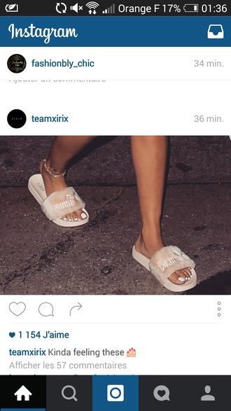 shoes puma fur slippers slide shoes beige pink rihanna