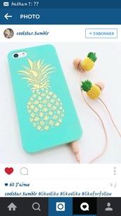 phone cover,earphones,pineapple,ear buds