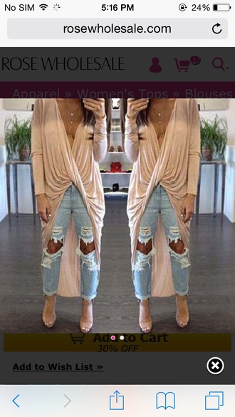 jeans ripped jeans draped plunge v neck nude sandals nude sexy trendy light blue boyfriend jeans gold necklace long sleeves