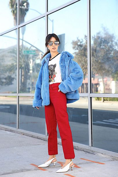 jacket tumblr blue jacket fur jacket faux fur jacket oversized oversized jacket pants red pants shoes white shoes slingbacks sunglasses
