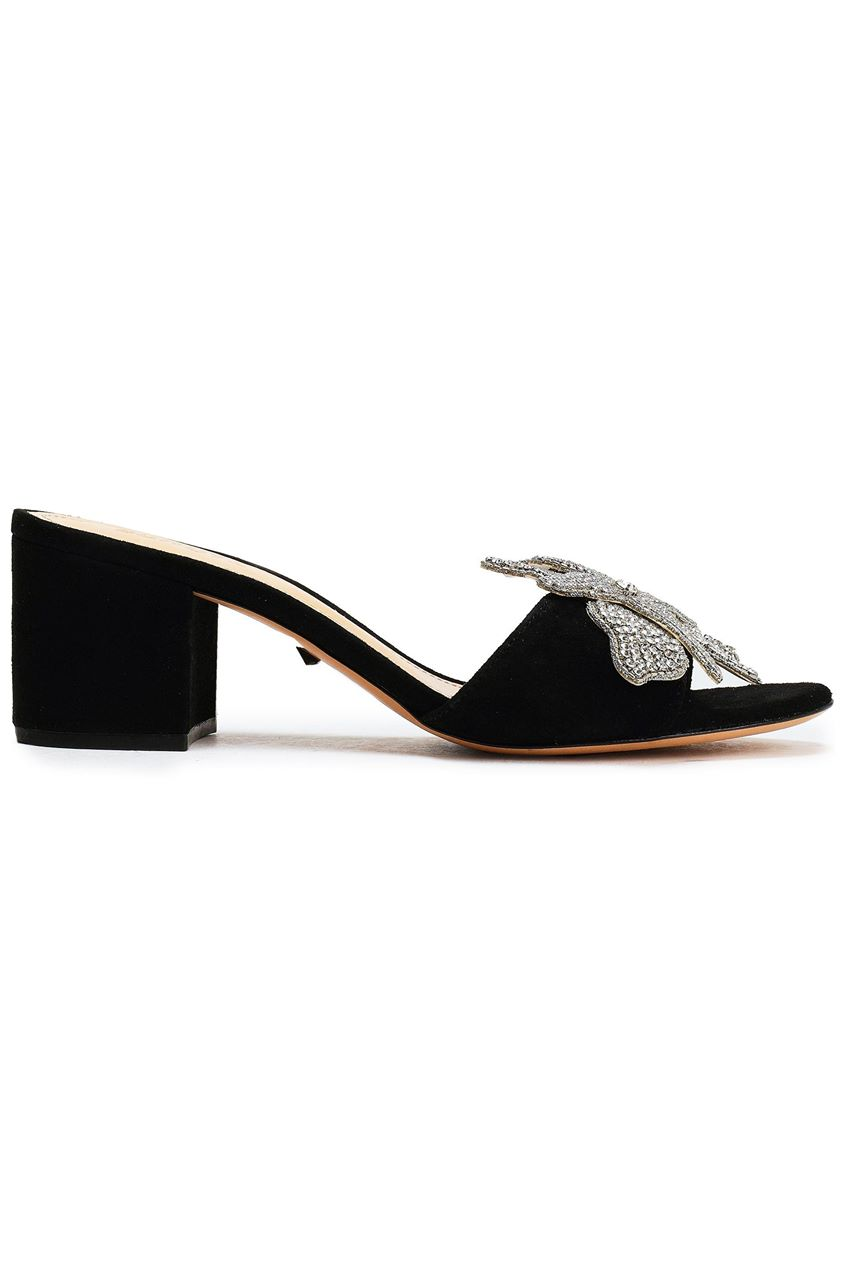 Schutz Woman Crystal-embellished Suede Mules Black Size 6