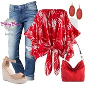 blouse,palm tree print,off the shoulder,red,jeans,shoes,earrings,jewelry,fashion,style,stylish,summer