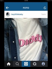 shirt,whie with the word daddy,daddy,t-shirt