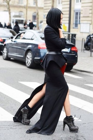 black maxi dress skirt black jacket split peplum structured fashion week waist belt