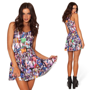 2014 New style Black Milk euramerican popularity of digital print dress sexy zombie pleated skirt | Amazing Shoes UK