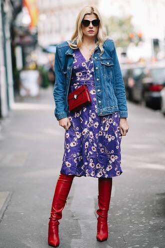 jacket denim jacket denim dress printed dress floral floral dress red red boots red bag bag sunglasses black sunglasses