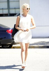 dress,white dress,white,dianna agron,summer outfits