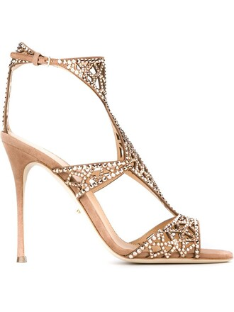 cut-out embellished sandals nude shoes
