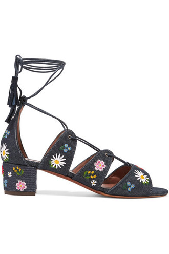 denim embroidered dark sandals shoes