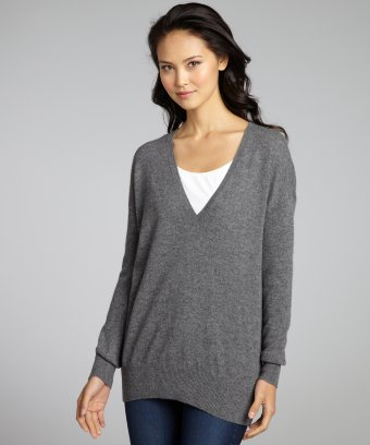 Autumn cashmere bankers grey cashmere v
