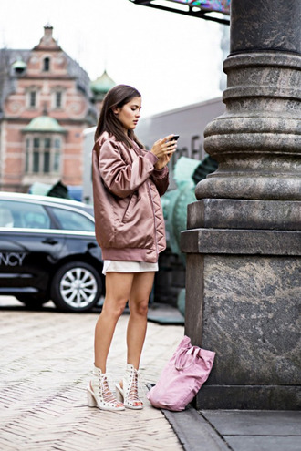 jacket skirt shorts heels white top jacter bag dress sandals swimwear dusty pink bomber jacket satin urban pastel pink pink bomber jacket satin bomber metallic bomber coat shoes nude