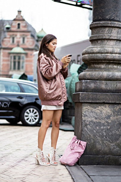 jacket skirt shorts heels white top jacter bag dress sandals swimwear dusty pink bomber jacket satin urban pastel pink pink bomber jacket satin bomber metallic bomber coat shoes nude