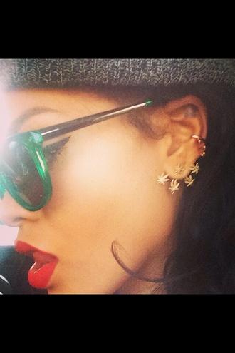 jewels rihanna weed earrings gold