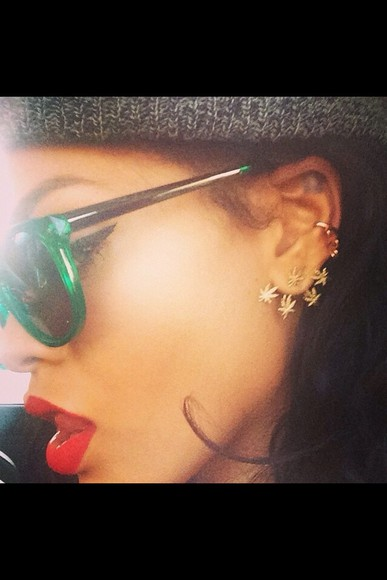 rihanna jewels earrings gold weed leaves