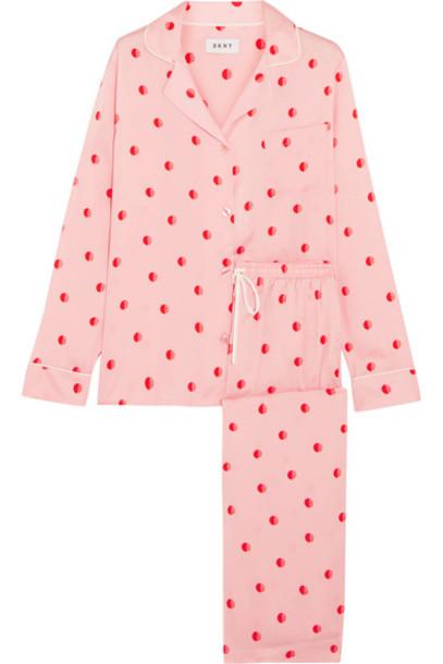 DKNY satin pajama set baby pink satin baby pink underwear