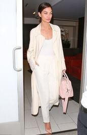 pants,top,nude,purse,lily aldridge,pumps,coat,shoes,bag