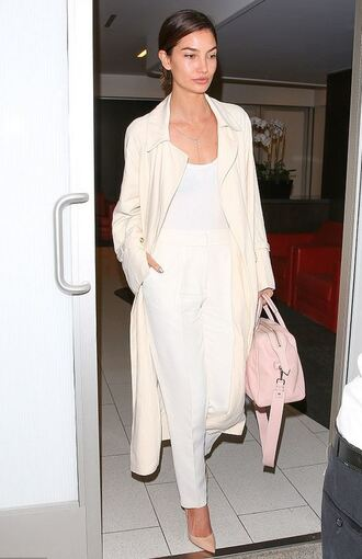 pants top nude purse lily aldridge pumps coat shoes bag