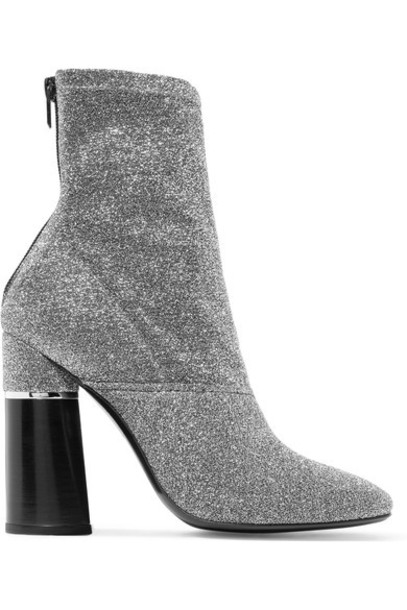 3.1 Phillip Lim sock boots metallic silver knit shoes