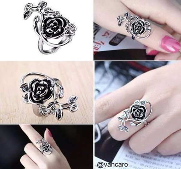 rose silver jewels ring