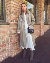 coat,trench coat,vinyl,long coat,white dress,mesh dress,midi dress,sock boots,shoulder bag,earrings