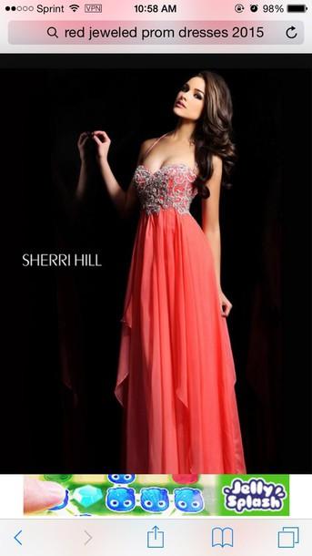 dress coral sweetheart neckline straps prom dress sheri hill gloves hat make-up