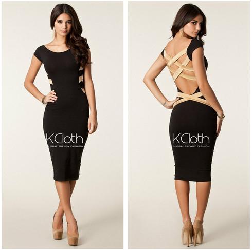 Kcloth black sexy cut out back bandage mini dress d1627