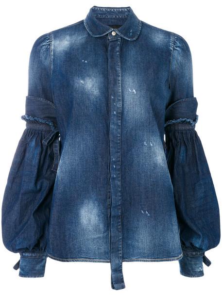 Dsquared2 - balloon sleeve shirt - women - Cotton/Spandex/Elastane - 38, Blue, Cotton/Spandex/Elastane