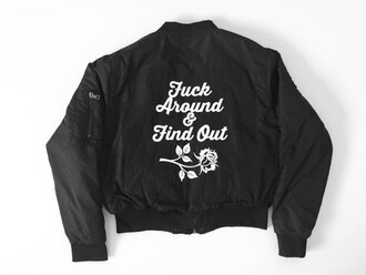 coat fuck around & find out black baseball jacket rose decal black bomber jacket jacket bomber jacket flight jacket