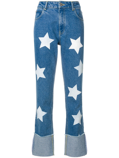 House of Holland jeans women cotton print blue